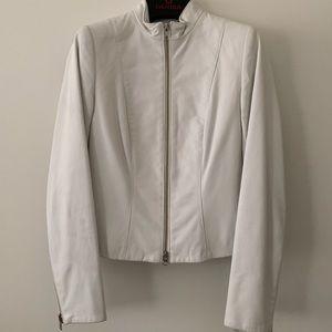 Vintage Danier White Band Collar Leather Jacket Xs